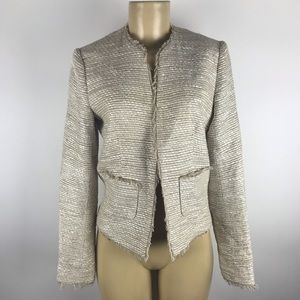 L'Agence Tweed Collarless Jacket size 2